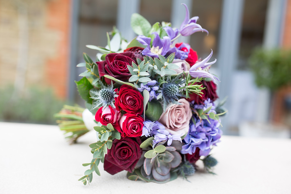 Bridal Bouquet Black Baccara, Bluebells, Sucullent