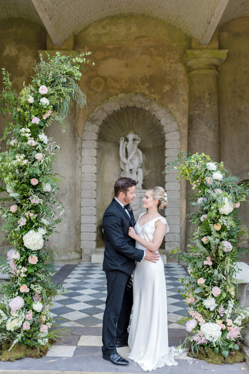 Bride and Groom Ceremony Floral arch Wotton House