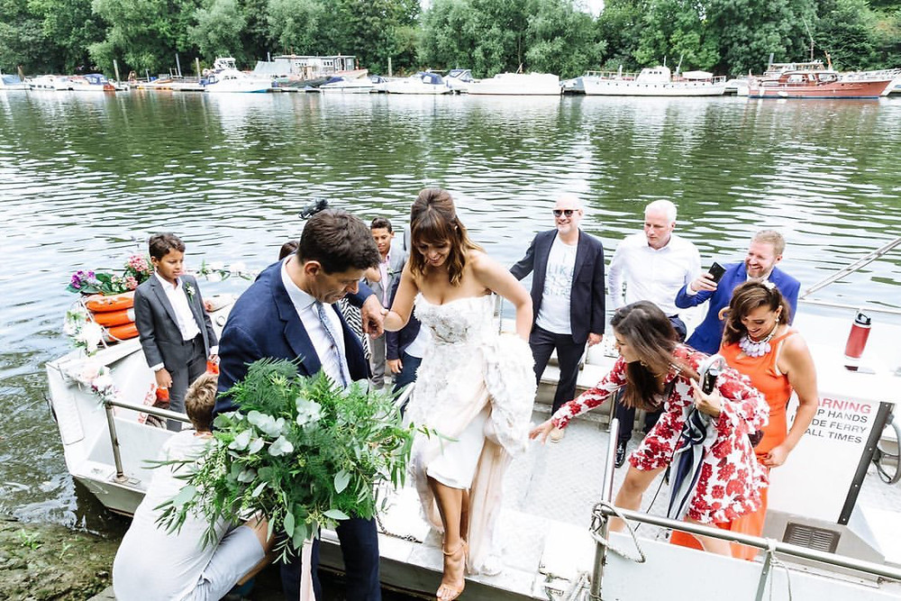 greenery bouquet wedding River Thames