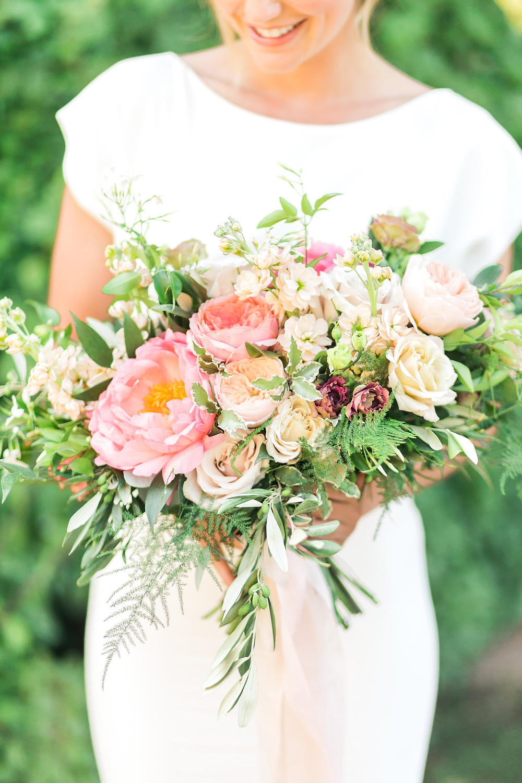 Bridal bouquet Peony, Garden roses, Stocks, trailing silk ribbons