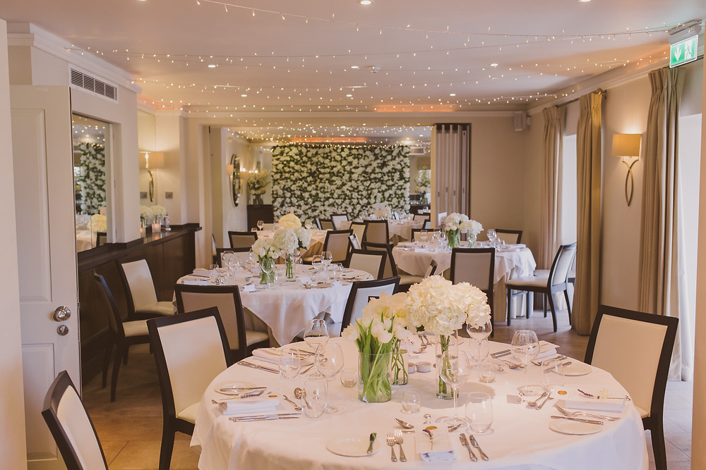 Downstairs wedding reception setup at The Bingham Hotel in Richmond, photo by @nickrayphoto