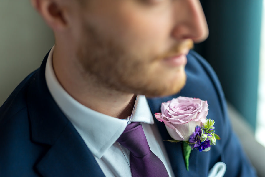 Dancing Cloud Grooms Buttonhole.  Photo by Damian Wedding Photographer