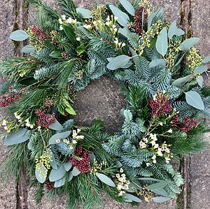 Christmas wreath greenery and wax flower