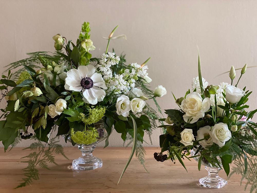 Anemone glass urn table arrangements