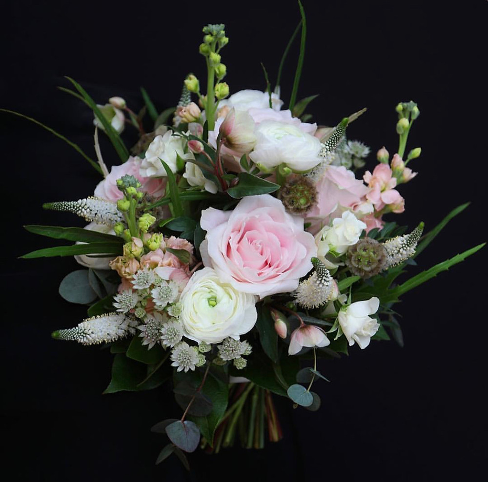 Bridal bouquet, Hellebores, Ranuculus, Stocks, Scabious seed pods