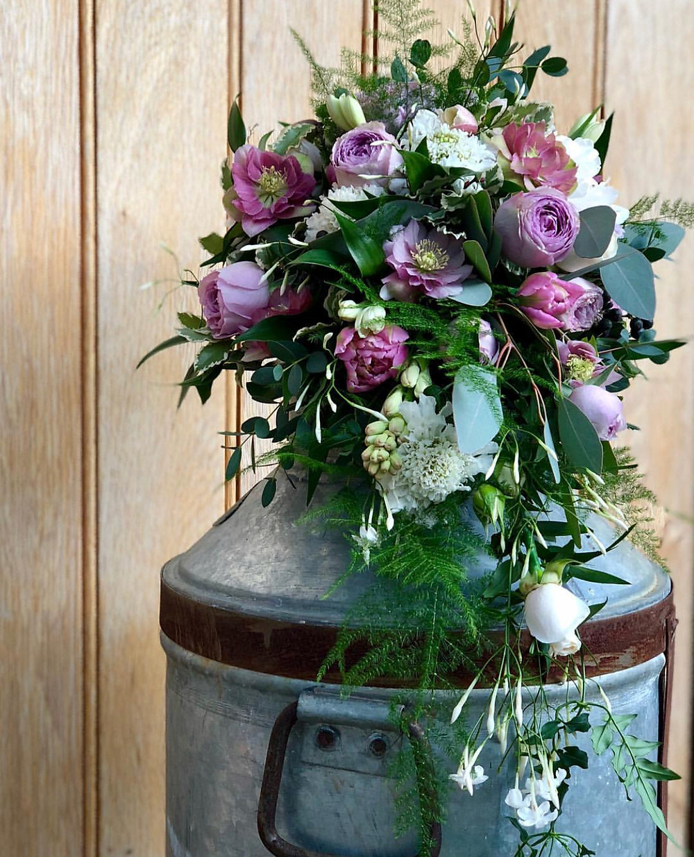 Hellebore, Rose, Tuberose, Tulip wired bouquet