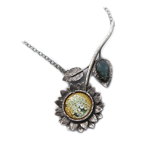 Sunflower On The Path ~ Labradorite ~Glass Enamel ~ Sterling Silver