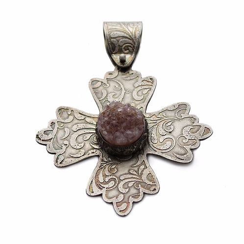 Greek Cross With Natural Amethyst Geode ~ Sterling Silver