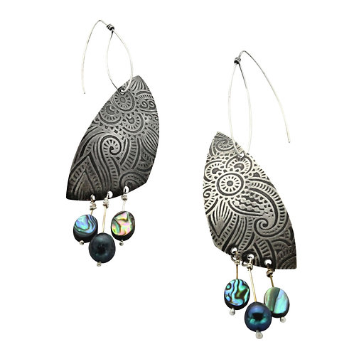 Passionate About Paisley ~ Sterling Silver With Multicolor Abalone Shell
