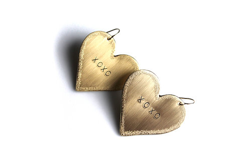 Customizable Conversation Heart Earrings With Sparkle Edges