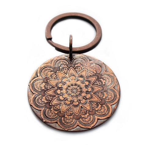 Mandala Keychain / Zipper Pull  Copper