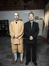 Master Wang Zhong Ren with Shaolin monk Shi Yan Xiang