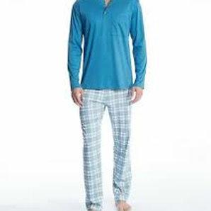 Calida Mens Swiss Cotton 3 Button Long Pajamas Set 44363
