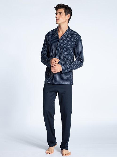 CALIDA MENS relax imprint button down pajamas set 40780
