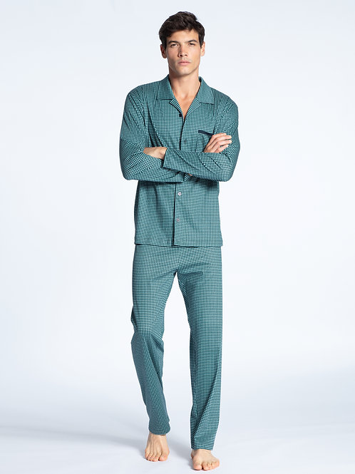 CALIDA MENS RELAX SELECTED BUTTON DOWN PAJAMAS SET 49860