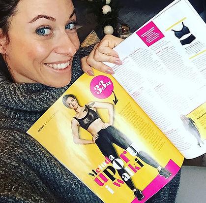 Magazyn Shape a w środku gazety artykuł poświęcony metamorfozie klientki klubu Just Jump Fitness Warszawa prowadzonej przez Agnieszkę Szaniawską instruktor fitness
