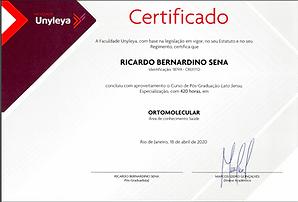 Certificado ortomolecular Unileya frente