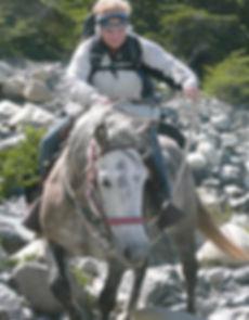 Betty Wills horseback in Patagonia