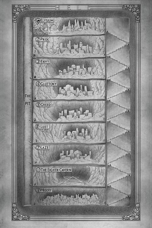 11 x 17 Hell Map Print