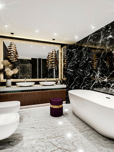 Gorgeous, Black & White Marble Bathroom