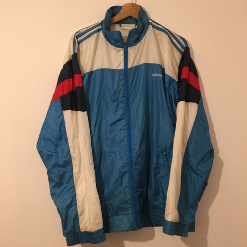 d221590326f8 Vintage retro blue white and red Bloc colour ADIDAS Track Jacket Excellent  condition 40 42 Large