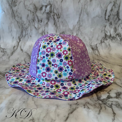 Purple Floral Baby Hat