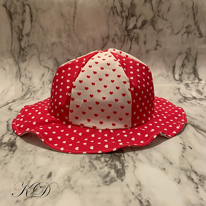 Red and White Small Hearts Toddler Hat