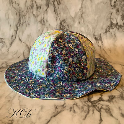 Blue Floral Baby Hat