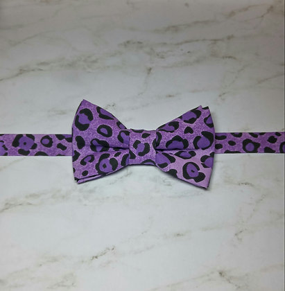 Purple Leopard Print Bow Tie