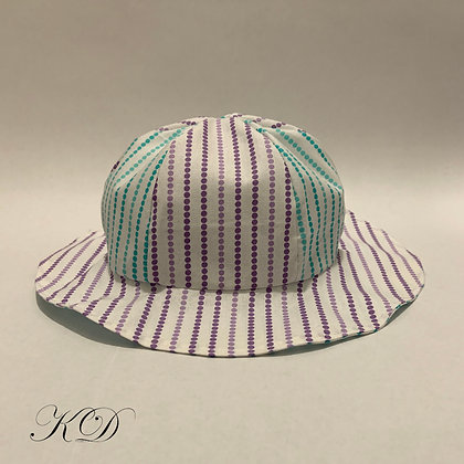 Lilac and Teal Striped Polka Dot Baby Hat