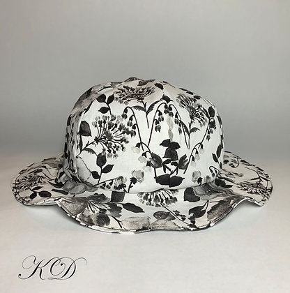 Black and White Floral Baby Hat