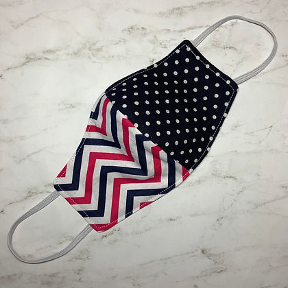 Adult Navy and Pink Chevron Stripes and Polka Dots Face Mask Size Small