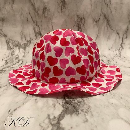 White Valentine's Hearts Baby Hat