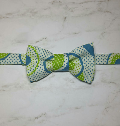 Blue and Green Polka Dot Bow Tie