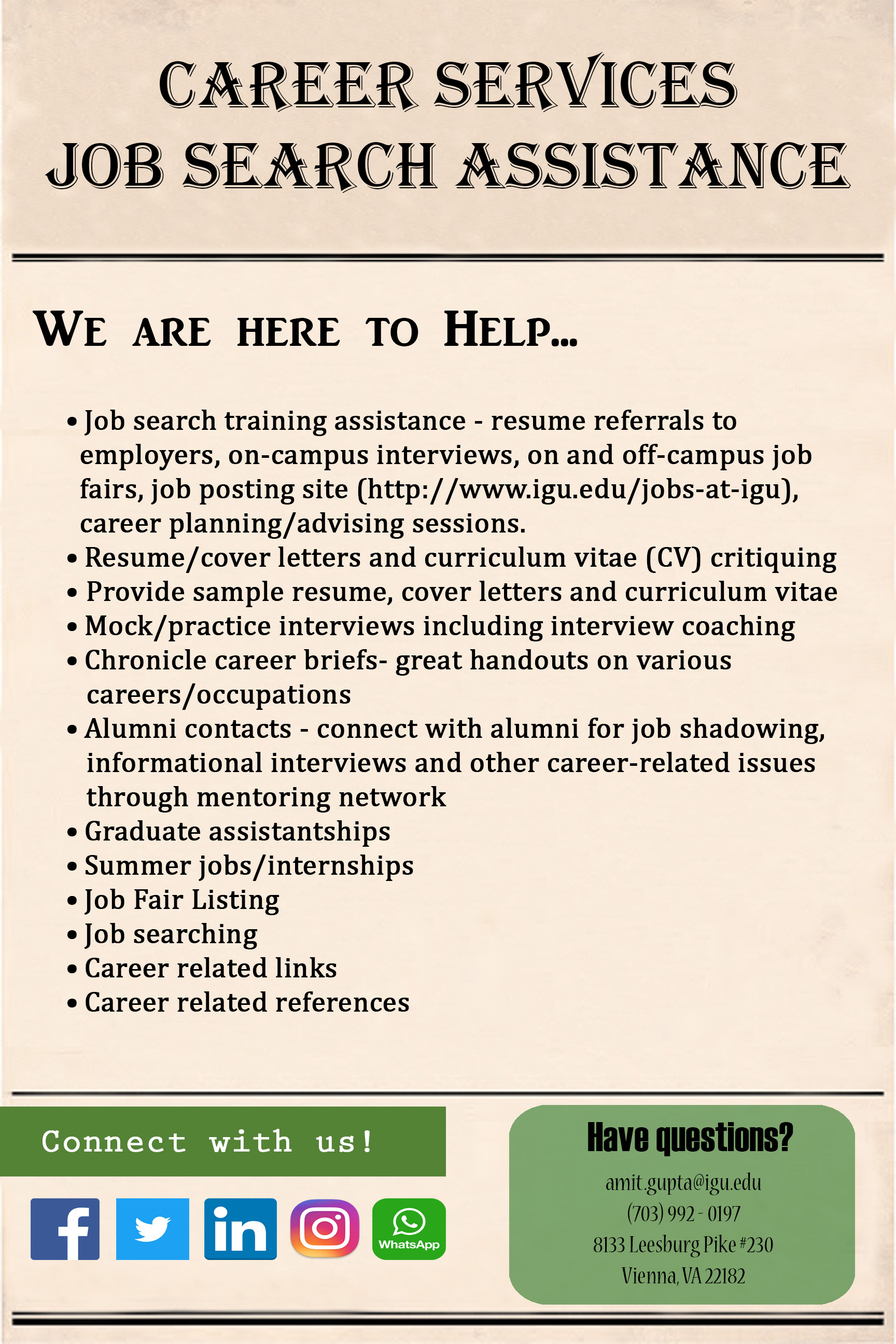 Career Services Job Search Assistance
