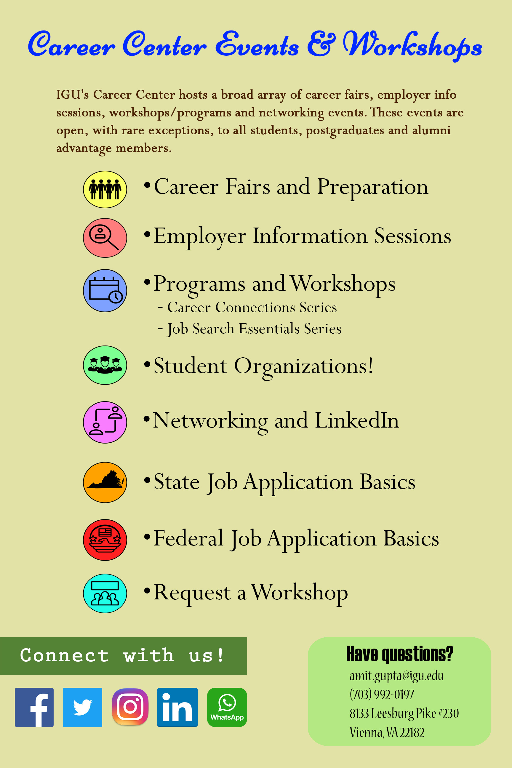 career center events and workshops
