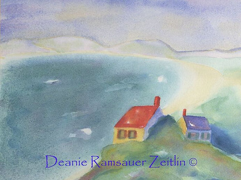 Houses near the Sea - Watercolor