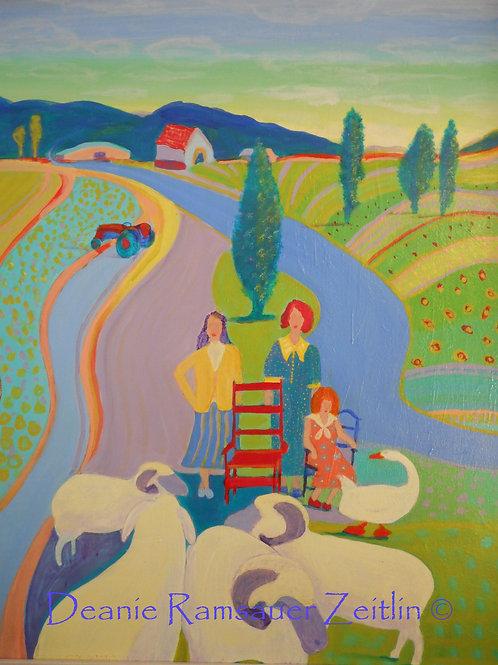 Girls & Sheep - Oils