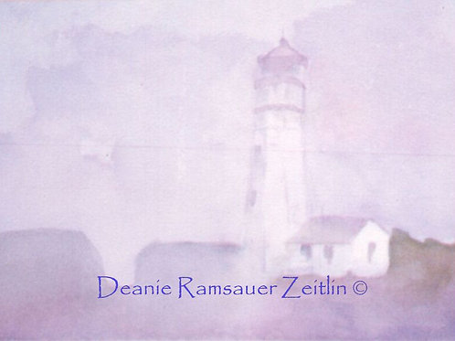 Light House Fog - Watercolor -SOLD