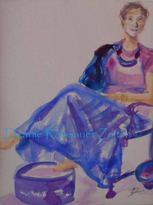 Woman in Blue Shirt - Watercolor