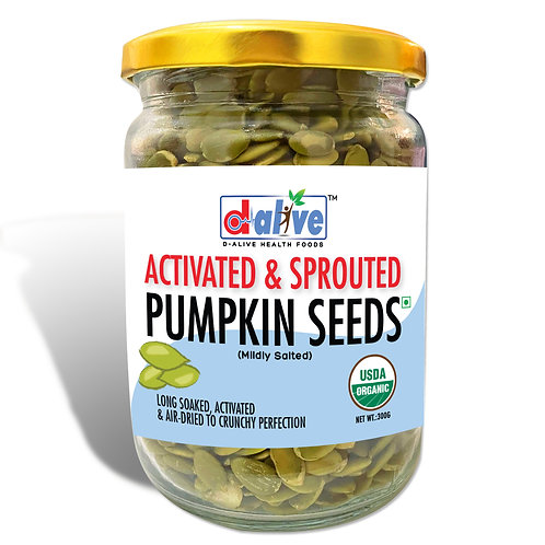 D-Alive Activated & Sprouted Pumpkin Seeds (300 grams) - Mildly Salted