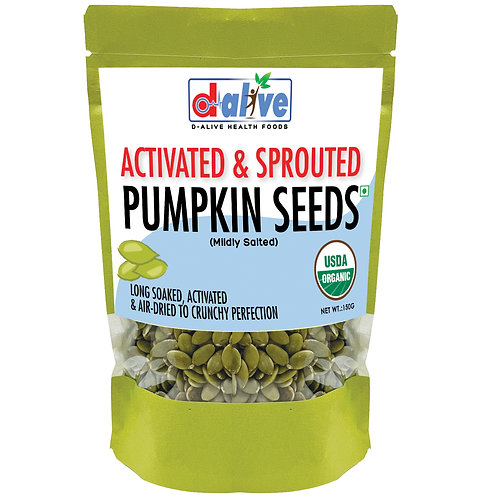 D-Alive Activated & Sprouted Pumpkin Seeds (150 grams) - Mildly Salted