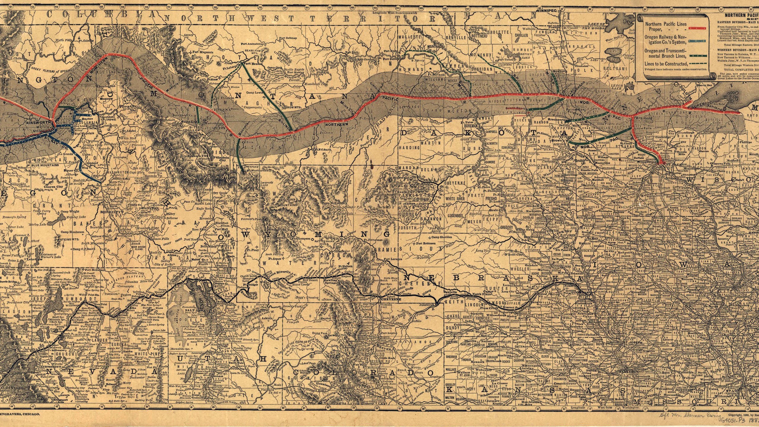 Northern Pacific Railroad Co. Map