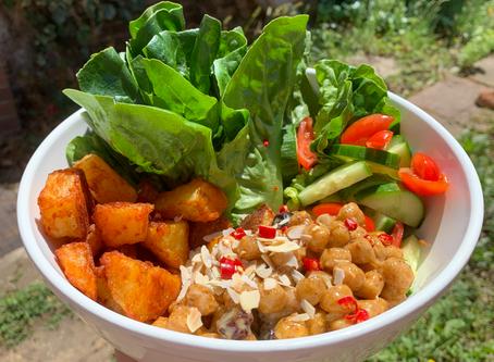 Paprika Potatoes and Creamy Chickpea Salad Bowl