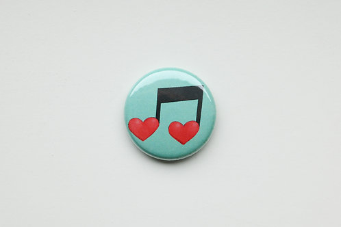 Heart Shaped Eighth Note Button