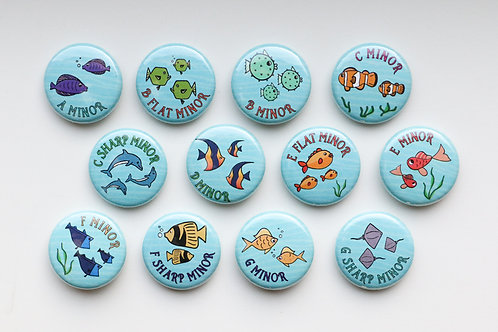 Minor Scale Buttons (Qty. 12)