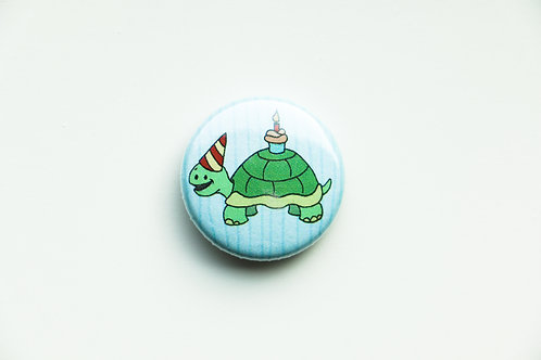 Birthday Turtle Button