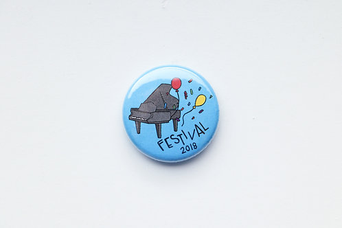 Festival 2018 Button with Balloons and Confetti