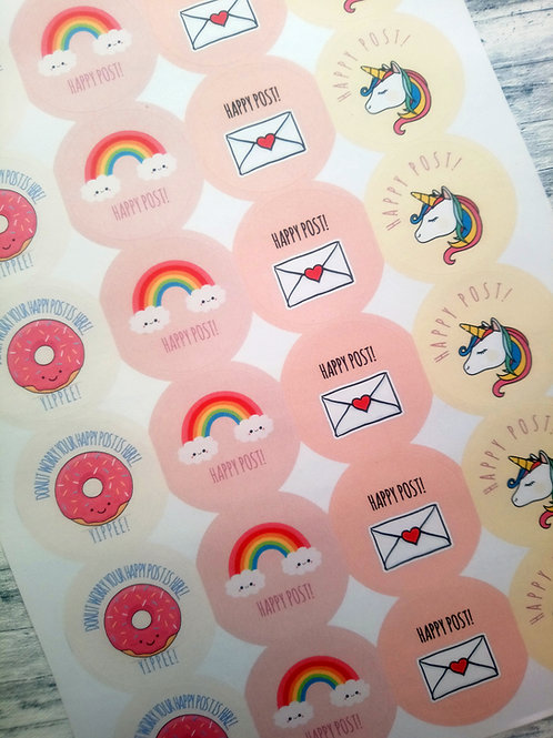 Mixed Happy Post Stickers