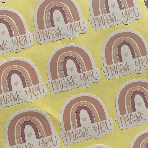 Custom cut Thank You rainbow gloss stickers
